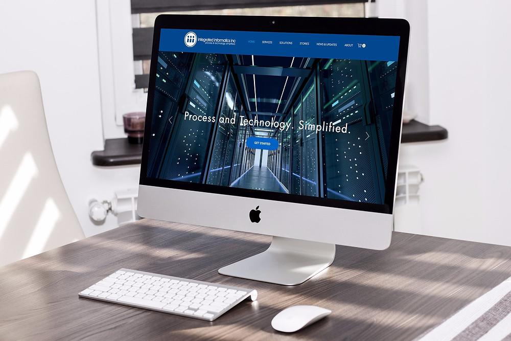 Mock-up of website development redesign of Integrated Informatics Inc company website