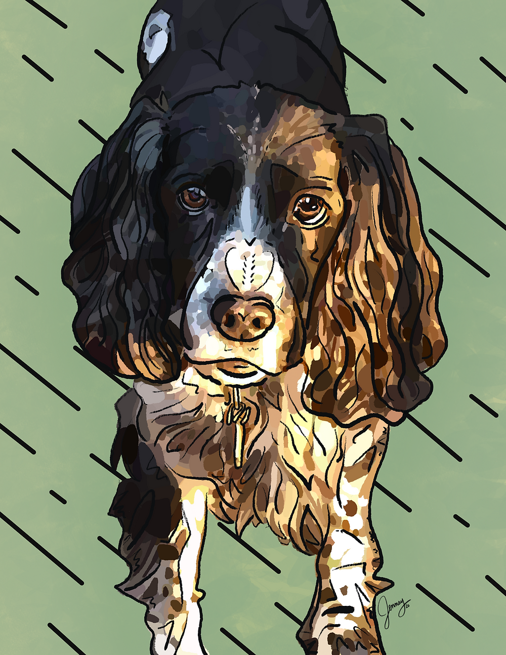 Final pet portrait of dog drawn on iPad with Procreate for an in memory gift