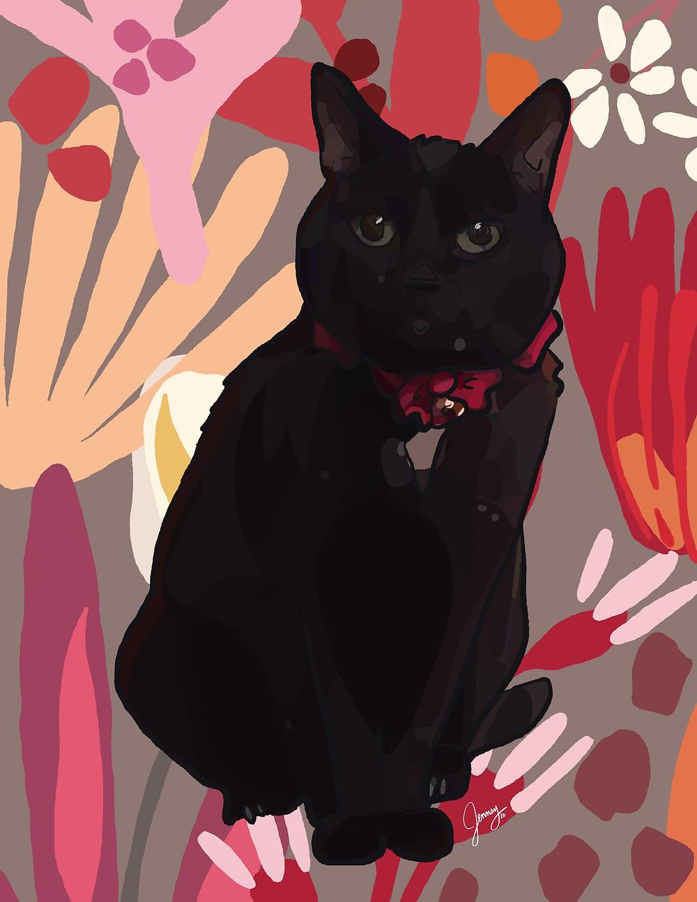 Final pet portrait of black cat drawn on iPad with Procreate