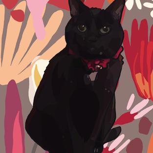 Digital Pet Portrait   Midnight