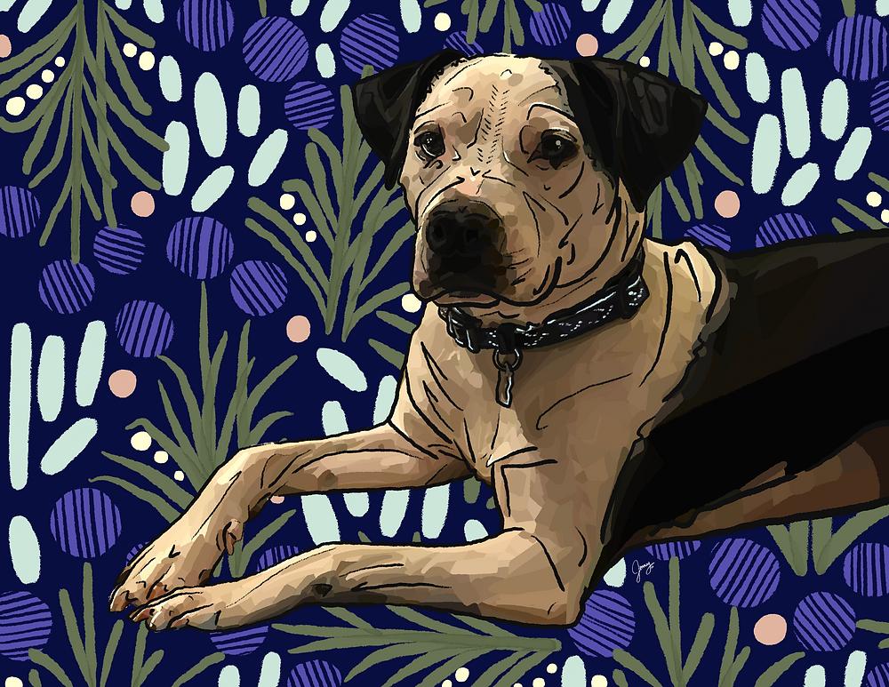 Final pet portrait of dog drawn on iPad with Procreate