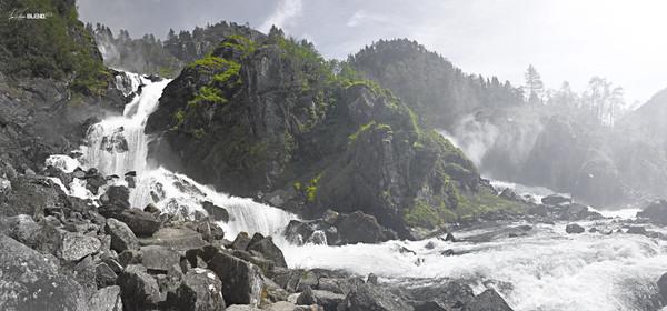 Låtefossen Waterfall, Skare, Norway