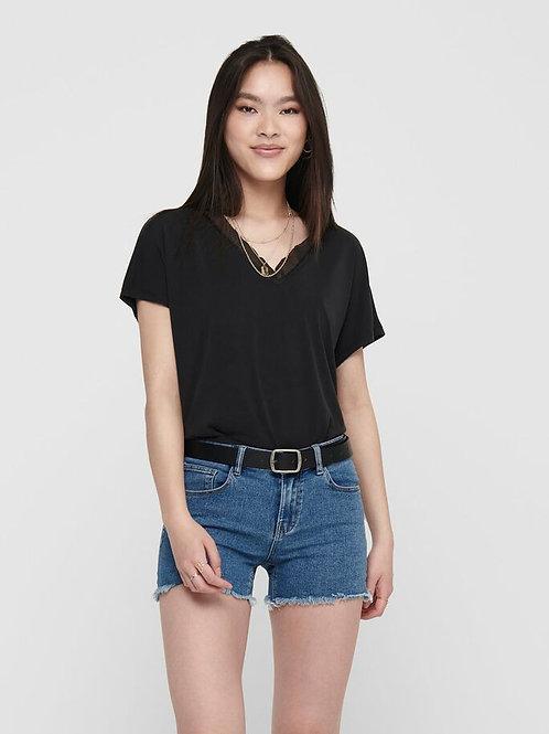 Camiseta cuello v negro y coral