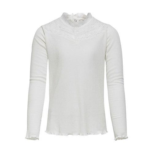 Camiseta manga larga cuello encaje blanca