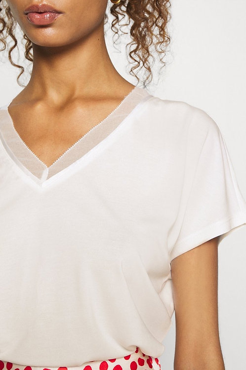 Camiseta cuello pico suave blanca
