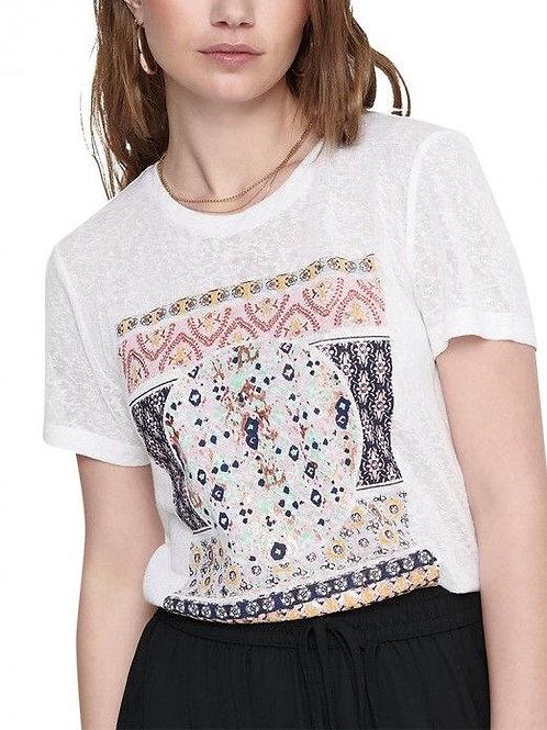 Camiseta blanca mandala rectángulo