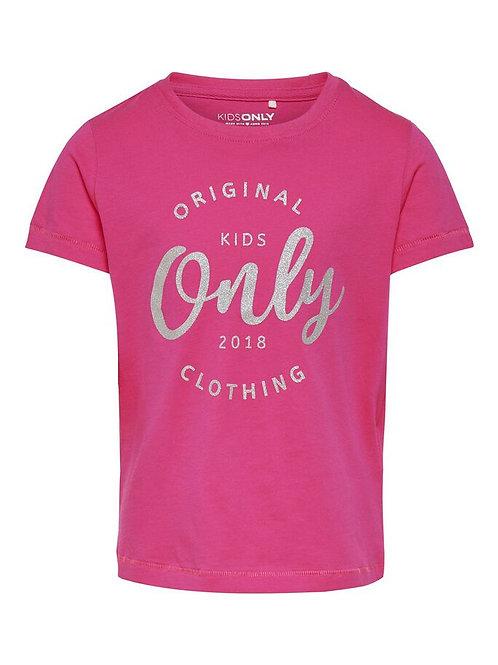Camiseta only logo rosa plata niña