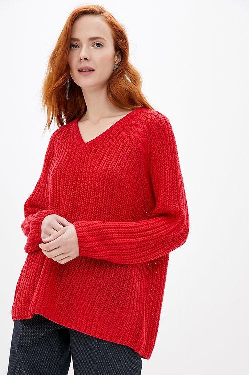 Jersey cuello pico rojo talla grande