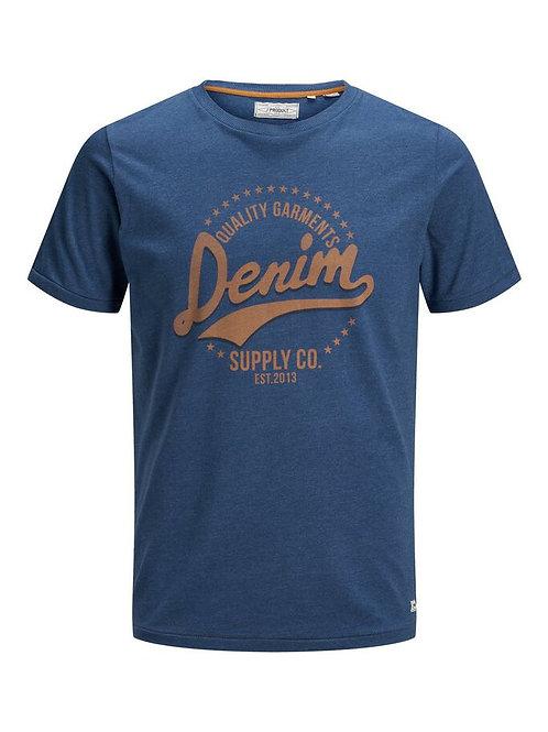Camiseta azul logo en naranja JJ