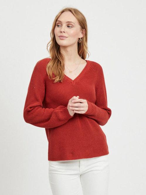 Jersey punto cuello pico color rojo