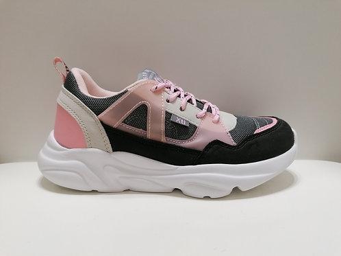 Zapatillas niña deportiva blanca negra rosa