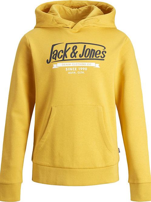 Sudadera amarilla Junior capucha JJ azul