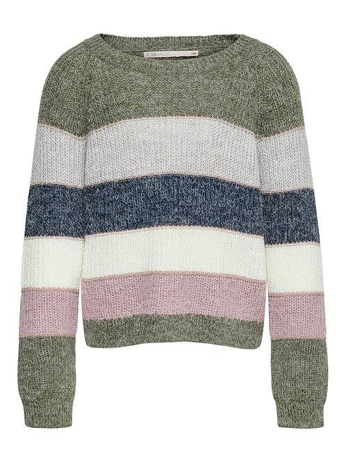 Jersey franjas gris, verde, azul y rosa niña