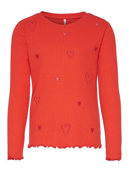 Jersey corazones bordados niña naranja