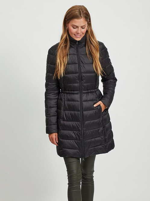 Abrigo puff negro cintura largo mujer