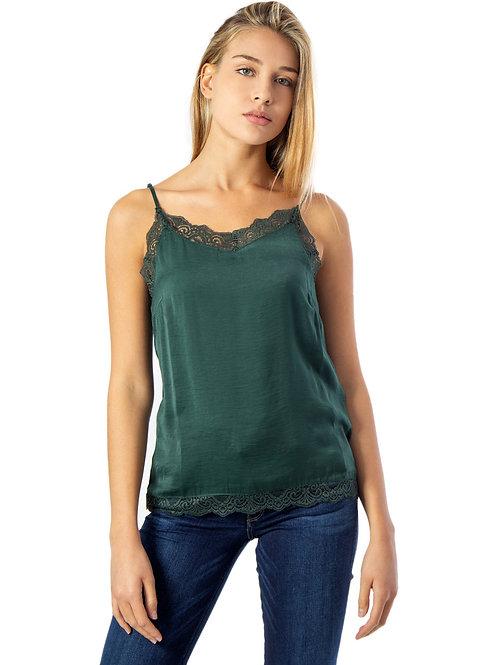 Blusa de tirantes lencera verde