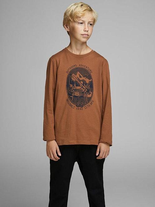 Camiseta manga larga marrón dibujo