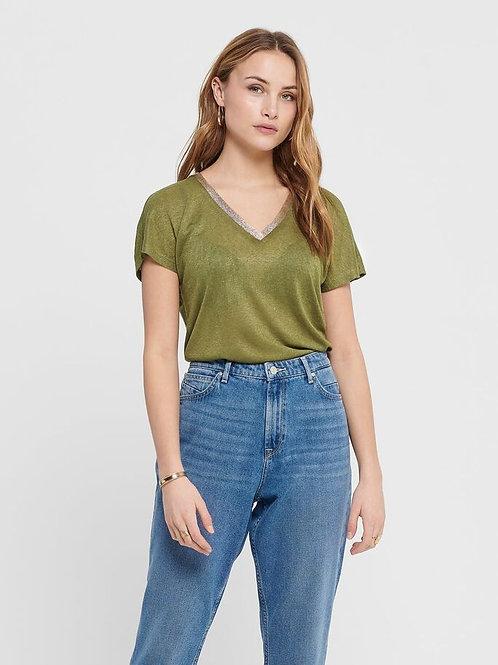 Camiseta ONLY cuello dorado 340038