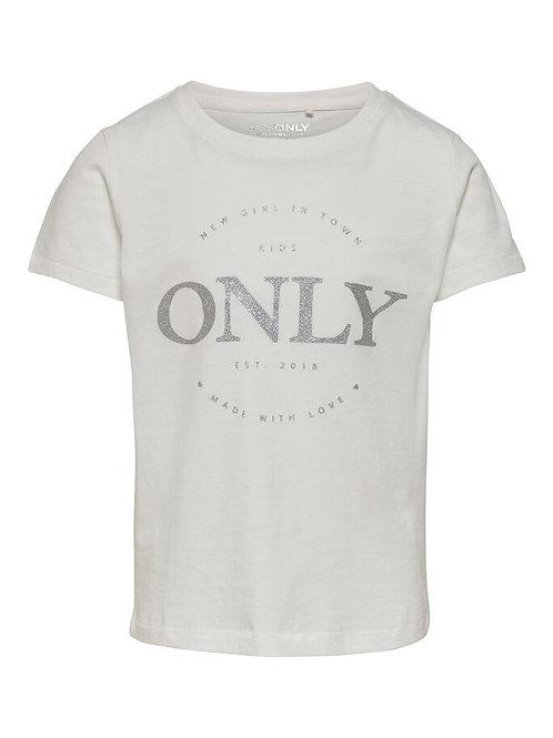 Camiseta only logo blanca plata niña