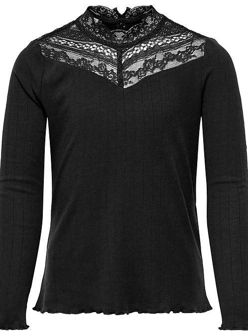 Camiseta manga larga cuello encaje negra