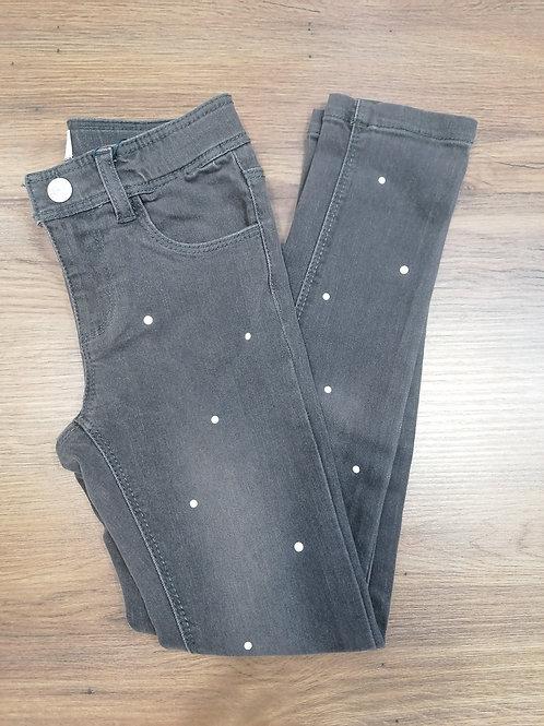 Pantalón denim gris niña perlas