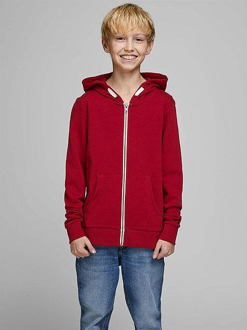 Sudadera cremallera beige capucha rojo