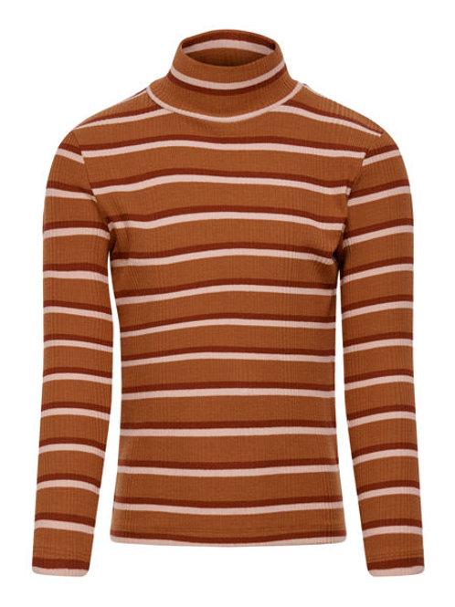 Jersey cuello alto blanco marrón y rojo franjas