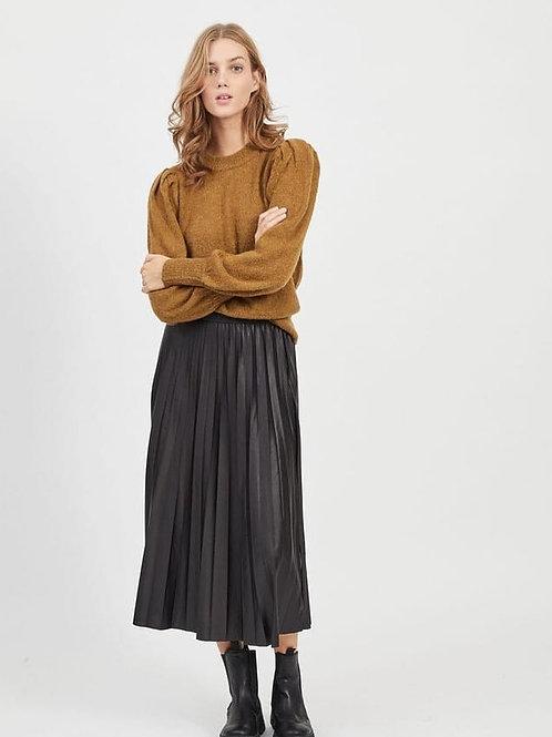 Falda midi plegada negra