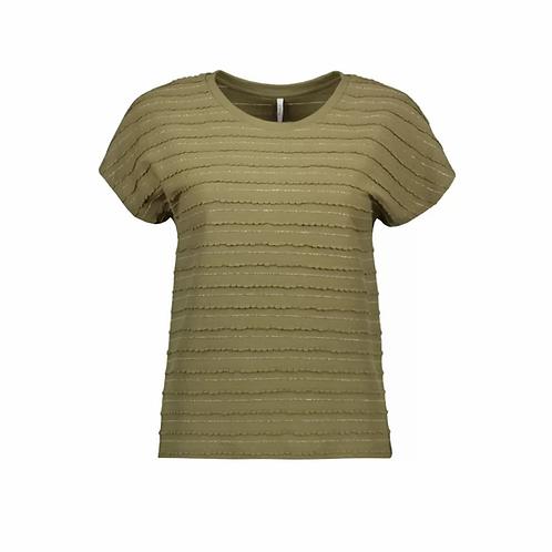 Camiseta rayas doradas verde