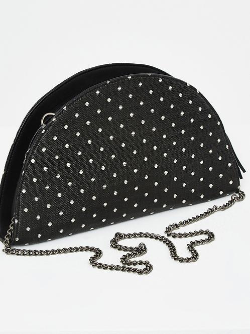 Bolso de mano con cadena  puntos blancos negro