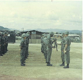 Pelham inspecting his platoon.bmp