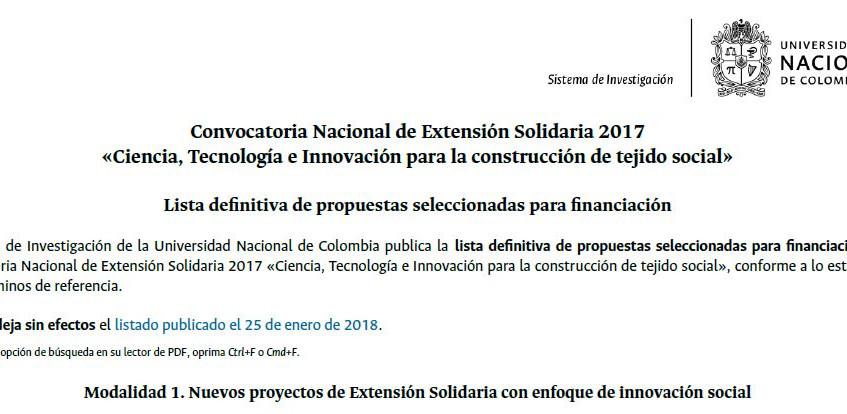 Convocatoria Extensión Solidaria 1