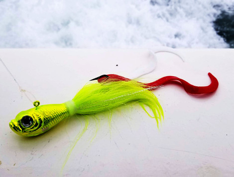 Spro Prime Bucktail tipped with two Eel Tail Jig Strips by Fat Cow Fishing
