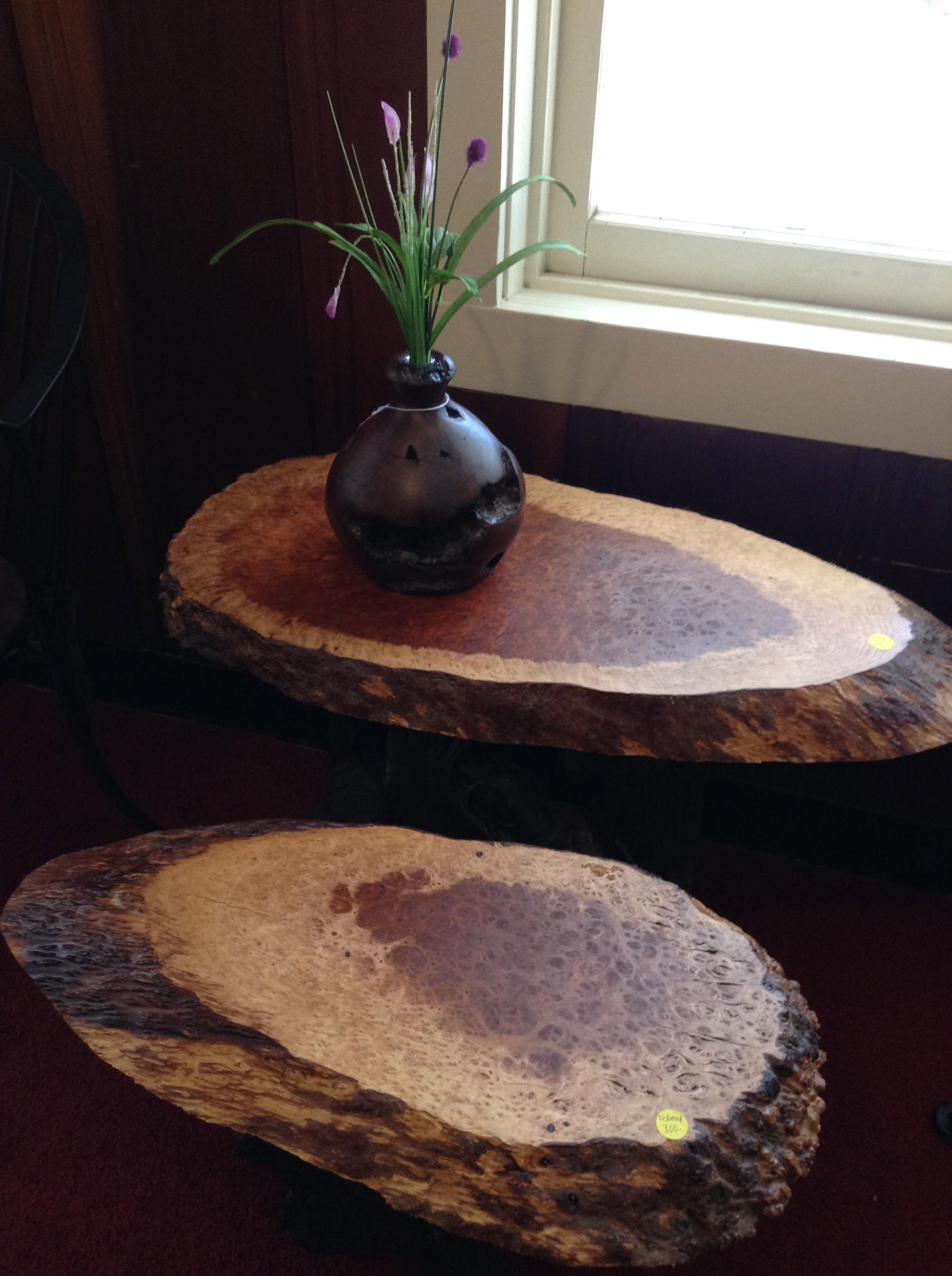Redwood Burl side tables