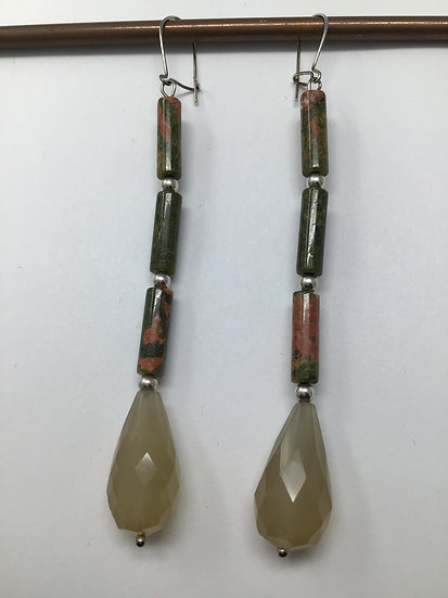 Unakite, Agate, Silver Earrings