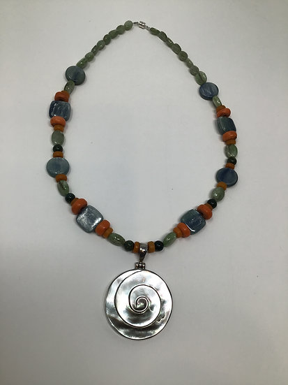 Mother of Pearl, Kyanite, African Glass, Bloodstone