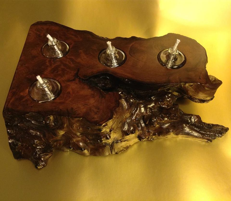 Redwood Burl Flat Tea Lights