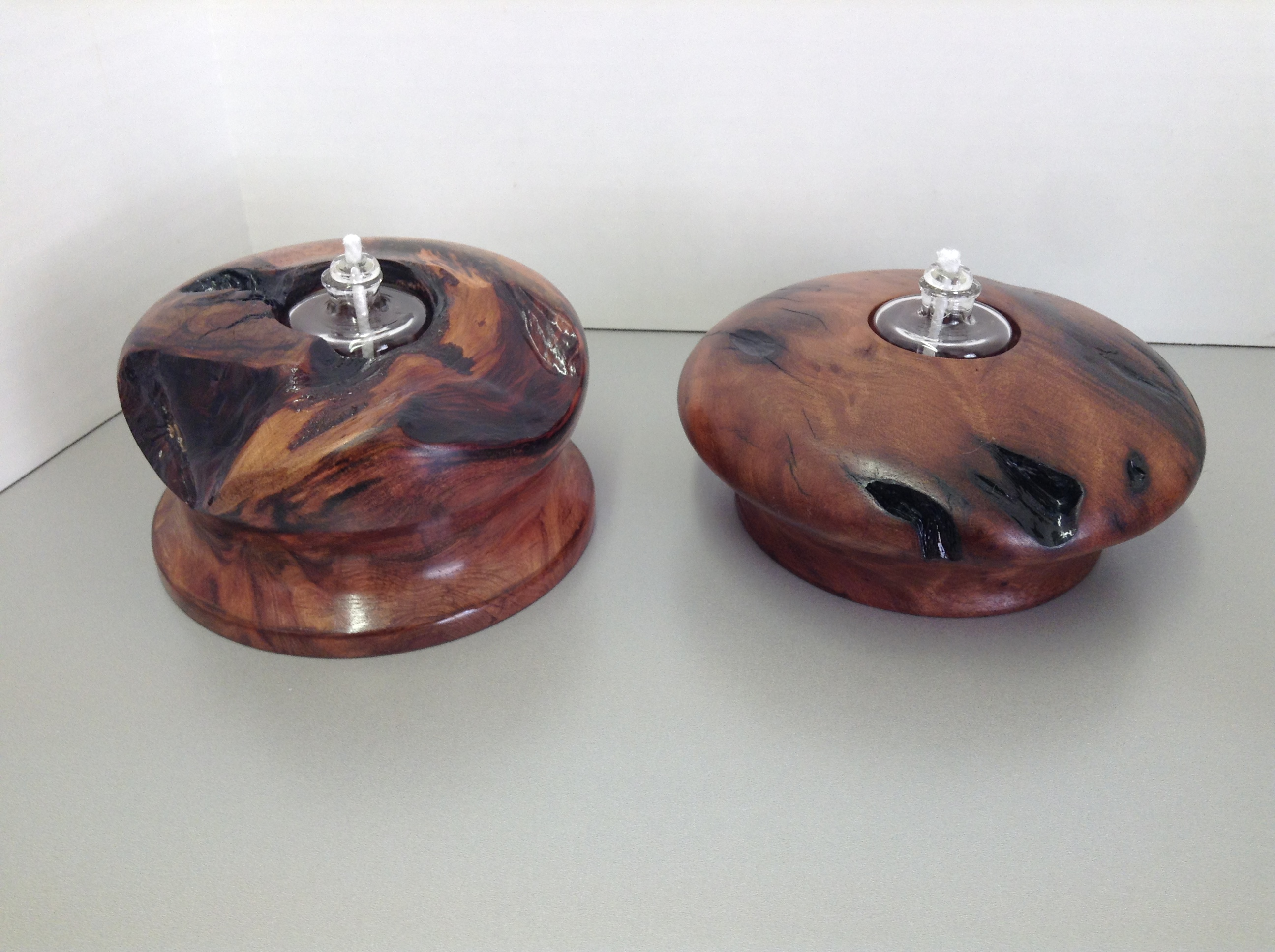 Redwood Burl Lathe Turned Luminaries