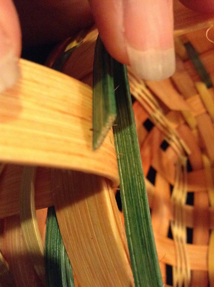 snip each weaver to tuck behind