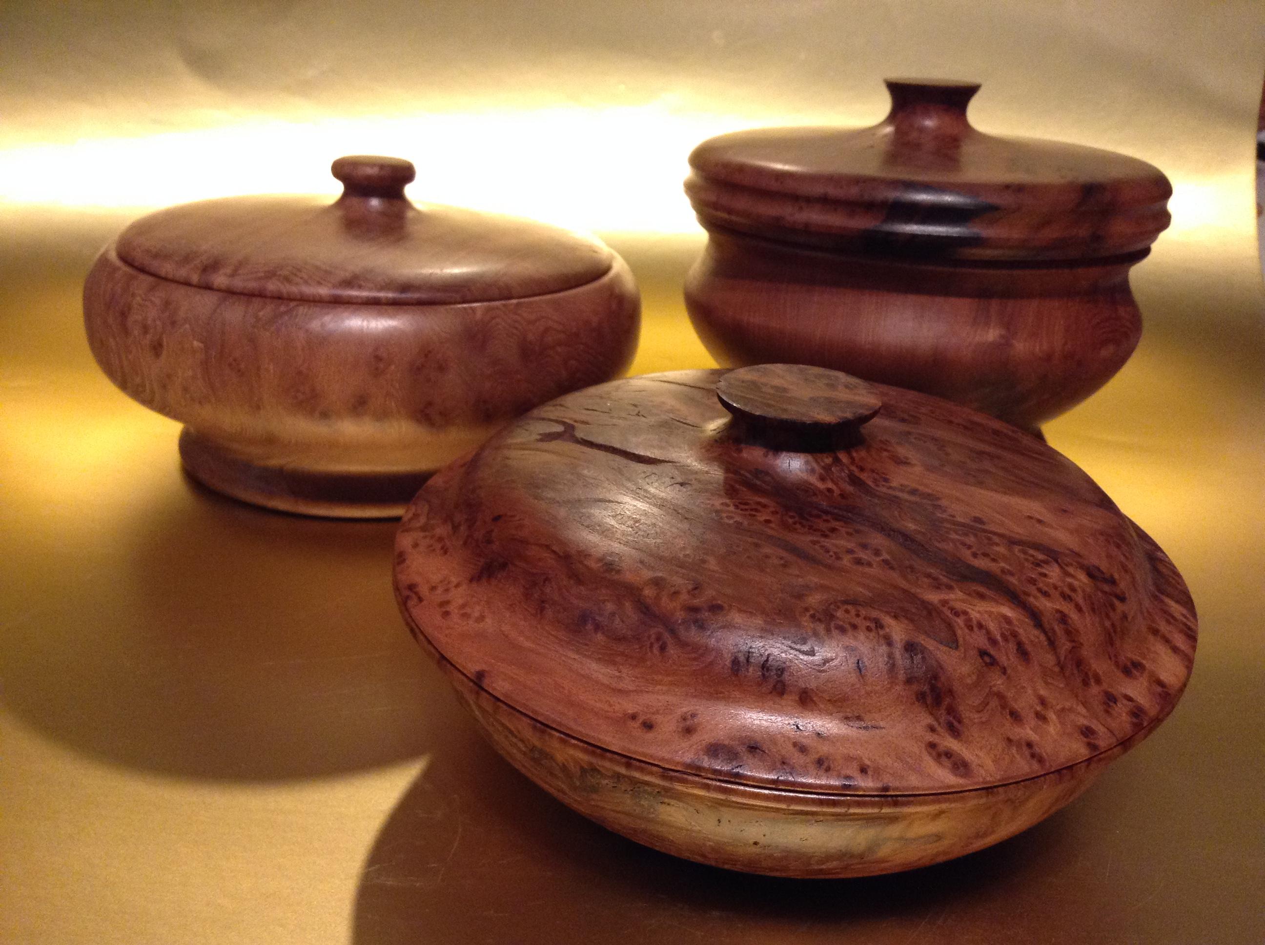 Lidded Redwood Burl Bowls