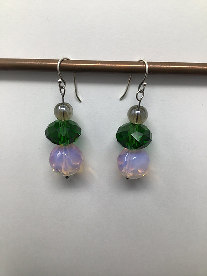 Opalite, Glass,  Smokey Quartz Earrings