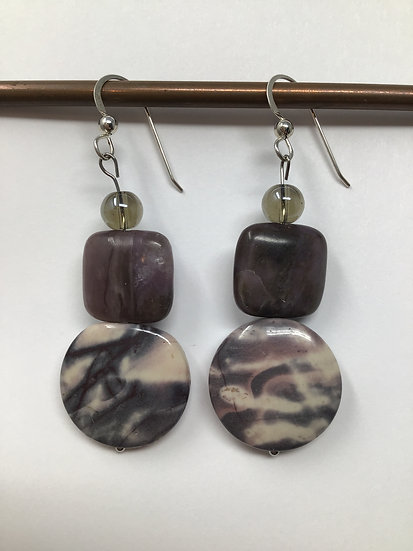 Exotica Jasper, Lipidilite, Smokey Quartz Beaded Sterling Earrings