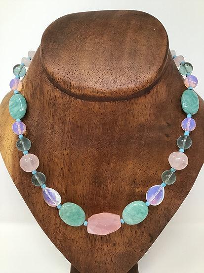Rose Quartz, Amazonite, Flourite, Opalite
