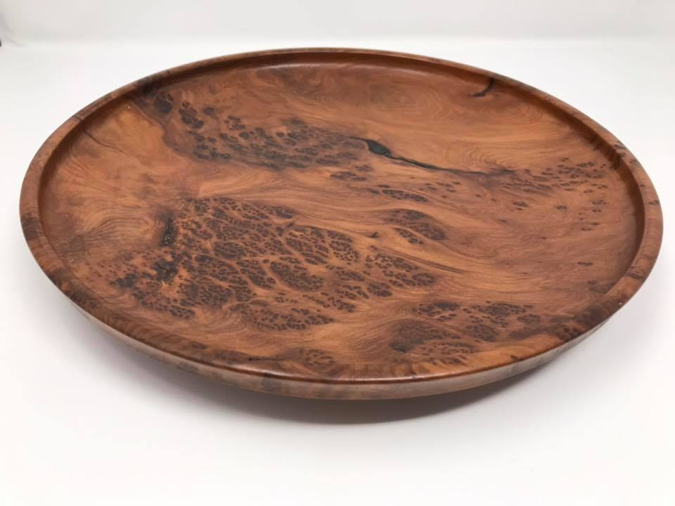 Redwood Burl Flat Bowl