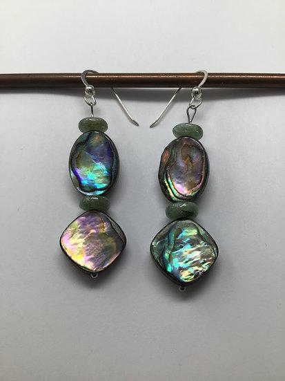 Abalone and Green Kyanite Earrings