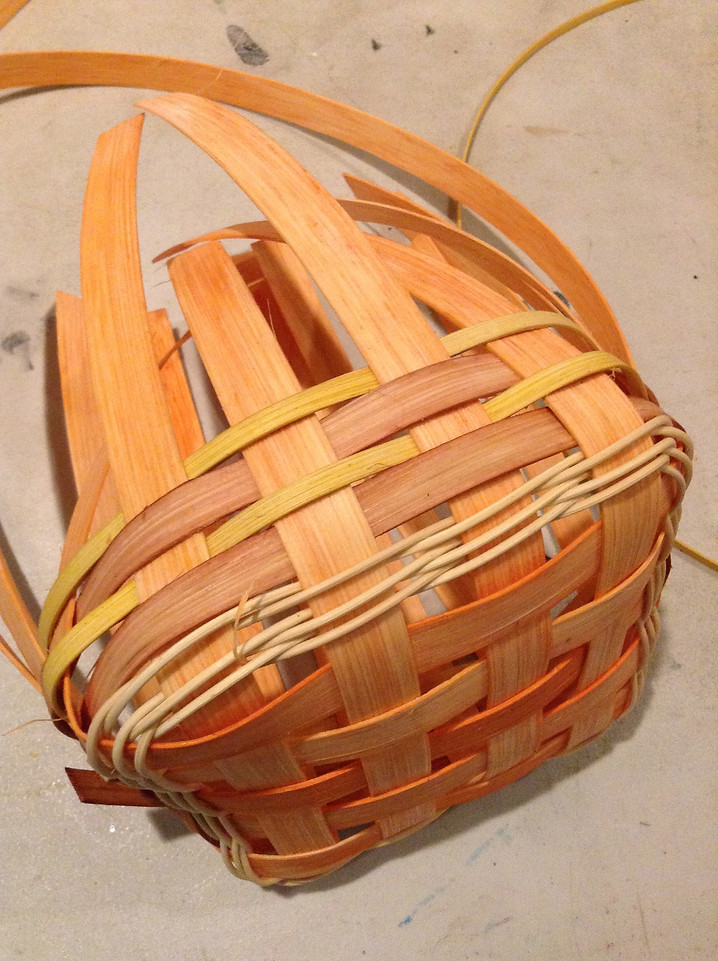 soak your weavers and weave each layer once around and overlap onto itself and cut the end