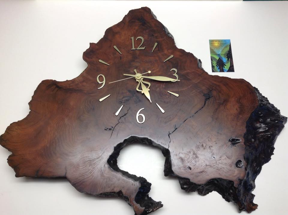 Large Redwood Burl Clock