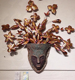 Colaboration Piece Copper Leaves by Sarah Starck and Goddess Planter by Erin Voelckers