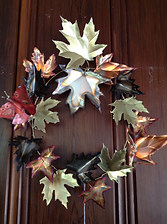 Copper, Brass, and Nickel Leaf Wreath with Butterfly