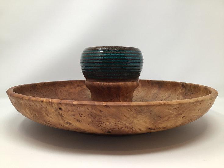 Redwood Burl Serving Platter with Ceramic Bowl